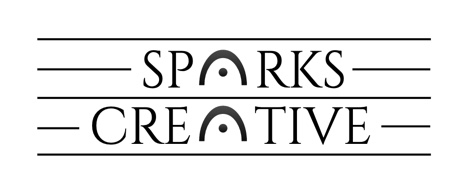the words 'sparks creative' stacked  	with fermatas replacing the a in each word